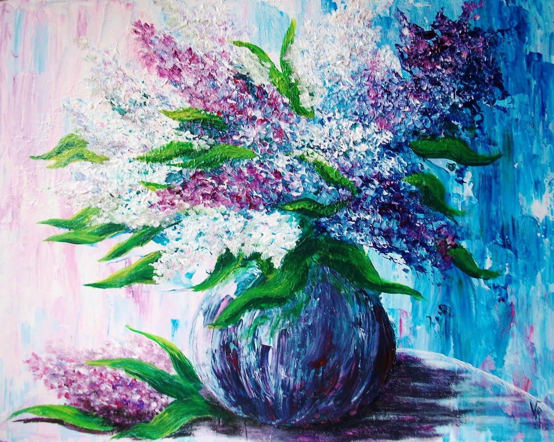 Bouquet de fleurs peinture acrylique for Bouquet de fleurs lilas